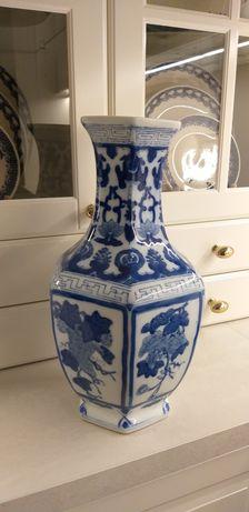 Wazon zabytkowy chiński porcelana chińska niebiesko biała