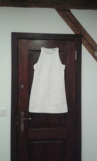 Zara trafaluc biała tłoczona sukienka S/M