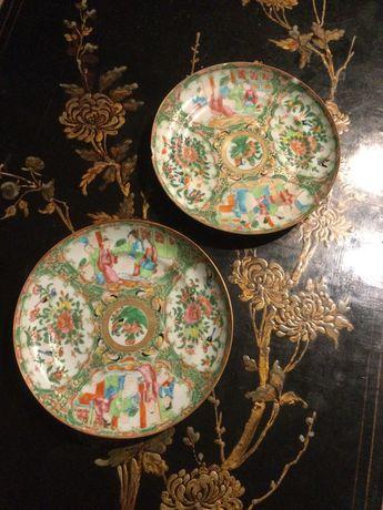 Dois pratos porcelana chinesa séc XIX 21 cm
