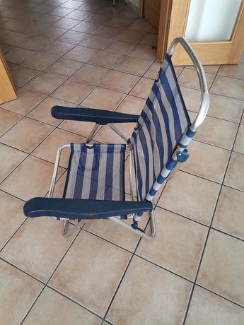 Cadeira de praia baixa retráctil com 5 posições usada mas em ótimo est