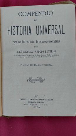 Livro - Compêndio de História Universal de 1917