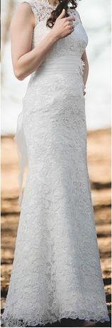 Suknia ślubna z gipiury, rybka, rozmiar S