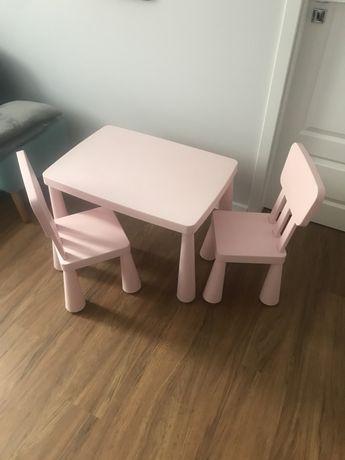 Stolik i dwa krzesła IKEA MAMMUT - pudrowy róż - REZERWACJA