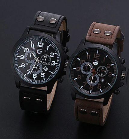 Relógio masculino de aço inoxidável com pulseira de couro