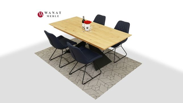Stół Okleina Dębowa noga stal+4 Krzesła Skóra Naturalna
