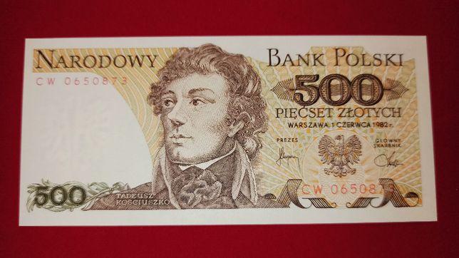 Banknot 500 zł 1982 Kościuszko seria CW UNC 500 NBP PRL