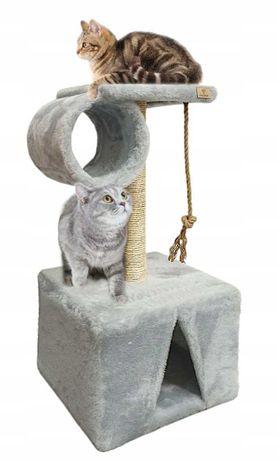 Drapak DREWNIANY dla kota DOMEK z tubą 82 cm ONLYPET
