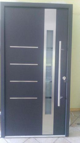 Drzwi zewnętrzne aluminiowe ciepłe antracyt 210 wys x 110 szer