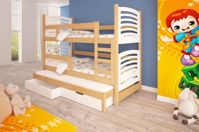 Trzyosobowe łóżko drewniane Janek, materace gratis dostawa do 5 dni