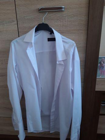 Męska koszula biała na zapinki
