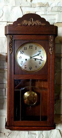 Piękny zegar ścienny Junghans antyk z witrażem