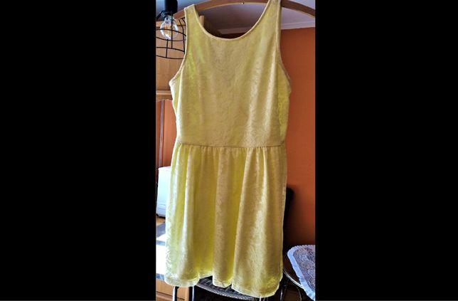 Letnia żółta sukienka z koronki Sinsay XL