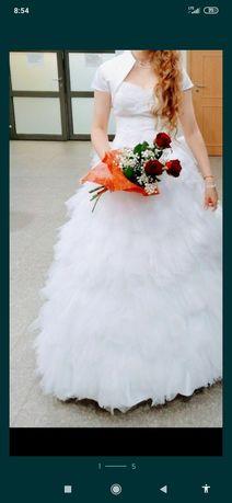 Suknia ślubna biała, tiul, 38, śnieżnobiała, princess