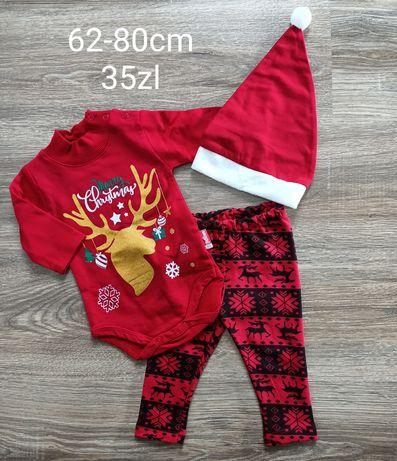 Komplet świąteczny body spodnie legginsy czapka 62-80cm