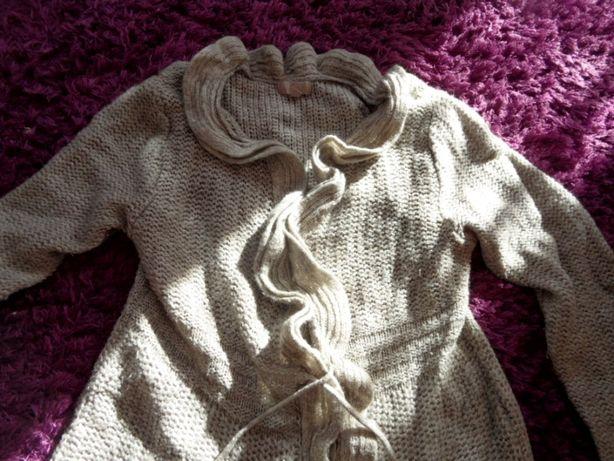Kartigan sweter z falbanki popielaty rozm 16 i 2 tuniki krata roz M sp