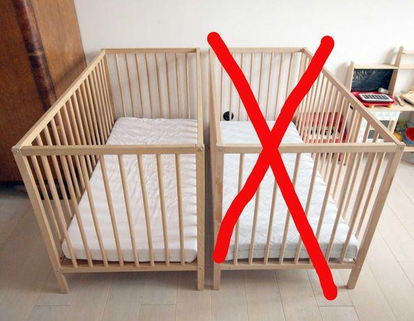 łóżeczko łóżeczka Ikea Sniglar drewniane stan bardzo dobry 60x120