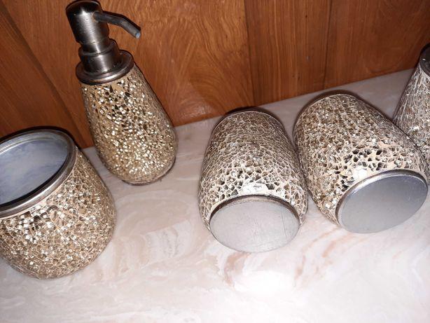 5 peças louça casa de banho dourado