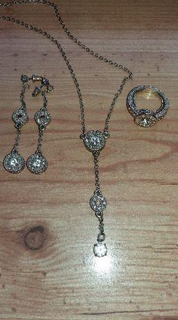 Biżuteria Pozłacana Avon Naszyjnik, kolczyki i pierścionek Eldorado