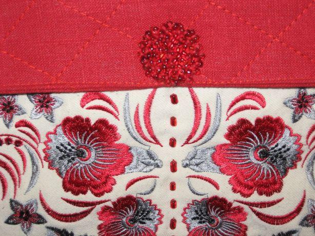 Авторская работа. Сумка – рюкзак льняная с вышивкой в украинском стиле