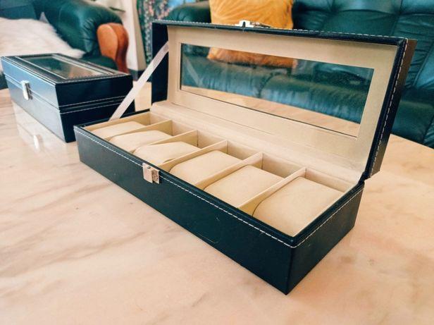 Eleganckie skórzane pudełko na 6 zegarków