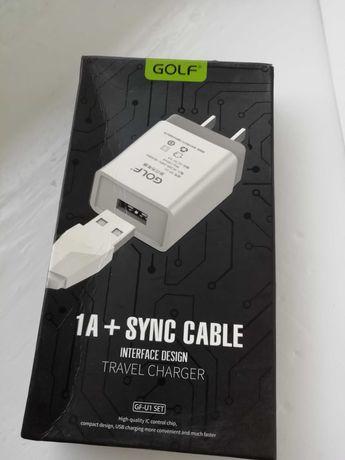 Зарядное устройство для телефона Golf 1A,  кабель USB - Type-C