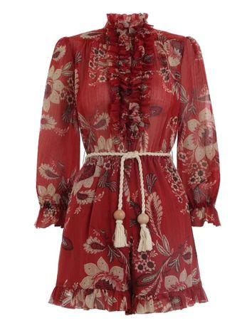 Czerwony jedwabny kombinezon 100 % silk kwiaty model Zimmermann M/L