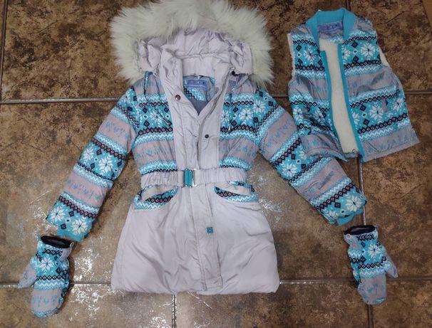 Зимнее пальто(холофайбер) , Шикарное теплейшее пальто на хол 104 -110р