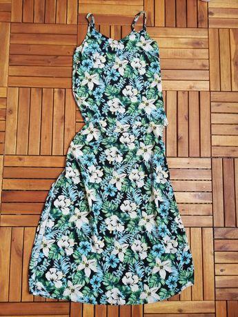Sukienka maxi kwiaty rozcięcie new Look wiskoza letnia