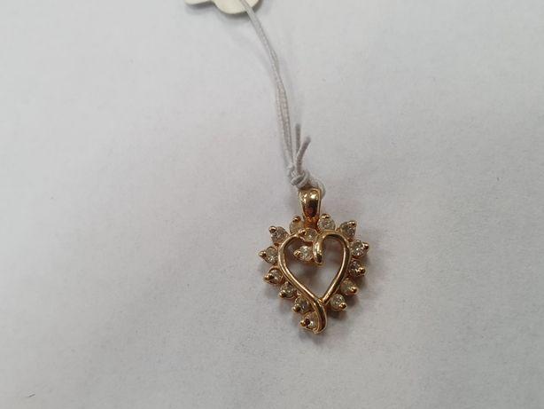 Piękny złoty wisiorek damski/ Serce/ 585/ 1.5 gram/ Cyrkonie/ Gdynia