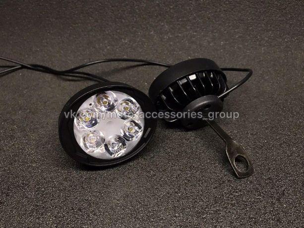LED фары с креплением под зеркало (6 диодов) 18Вт 1100 LM мото, ATV