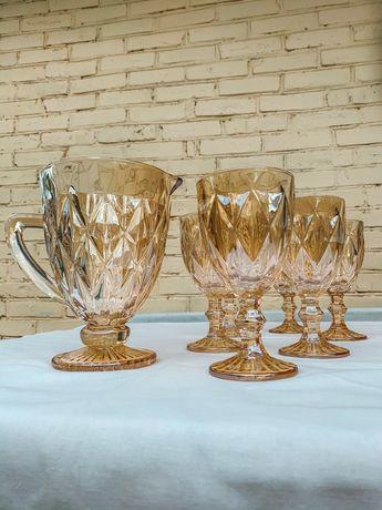 Набор бокалов Для вина Набор бокалов цветное стекло,Графин  Подарок,