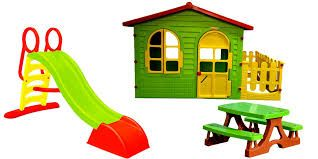 детский домик Mochtoys 190*118*127см + горка 180 см + скамейка