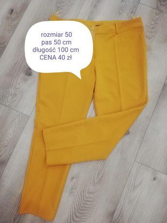 Spodnie materiałowe damskie musztardowej rozmiar 50