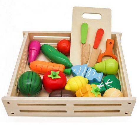 Drewniane warzywa owoce XXL skrzynka z warzywami + GRATIS