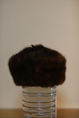 58, Шапка из норки мужская, натуральный мех, меховая норка, ушанка
