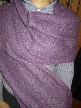 Огромная сиреневая оренбургская шаль шарф платок