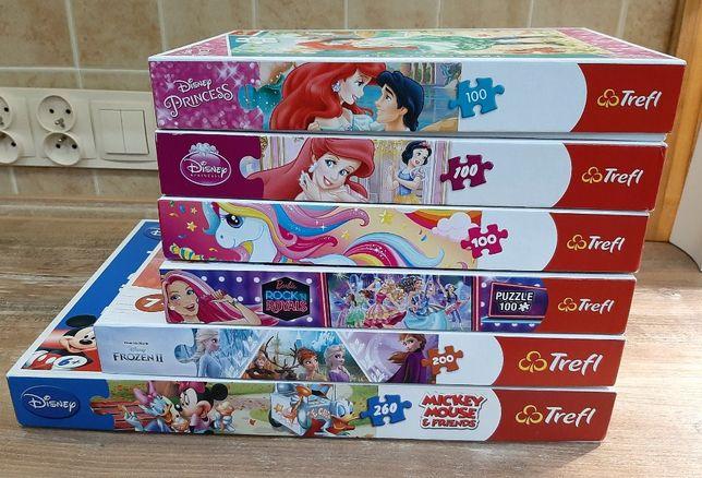 Zestaw puzzli 6 kompletów/Barbie,Syrenka,FrozenII,MickeyMouse,Ponny