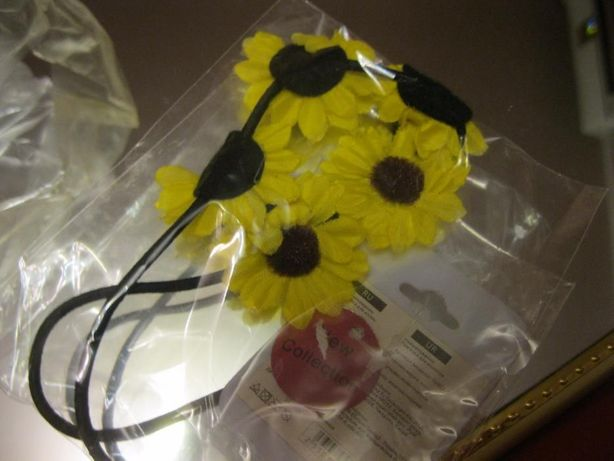 девочкам детская заколка повязка на волосы цветы подсолнухи желтые