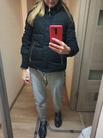 Куртка, курточка, пуховик зимняя, зима черная теплая zara ,