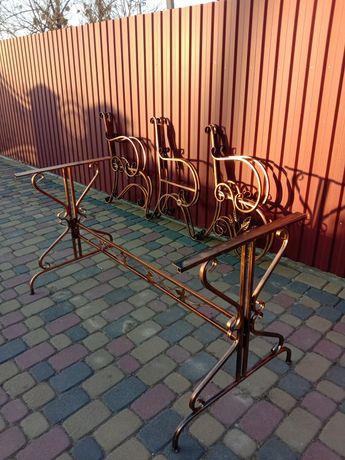 Садовый стол боковины кованые изделия мебель стіл скамейка лавка скамя