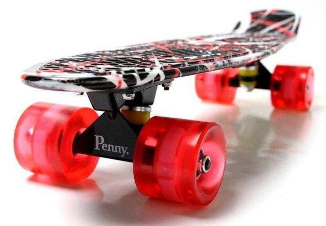 """Скейт Penny Board """"Red design"""" Светящиеся колеса! (Пенни борд)"""