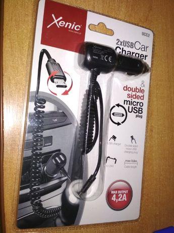 Ładowarka samochodowa USB microUSB. XENIC UCC2