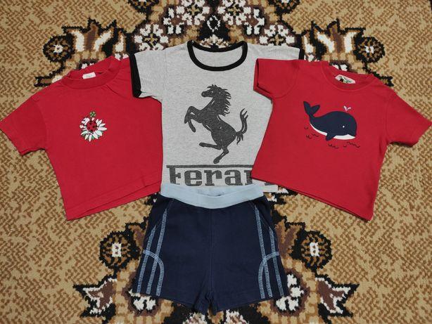 Цена за всё!! Комплект на лето, 3 футболки + шортики.