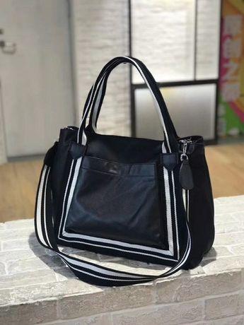 женская кожаная большая сумка черная спортивная дорожная жіноча шкірян