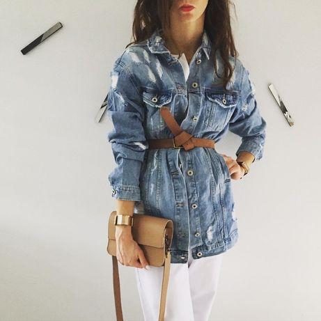 Katana jeansowa kurtka z jeansu przedłużany dziurawy dziury płaszczyk