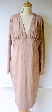 Sukienka Nowa Missguided 52 6XL Brudny Róż Prążki Różowa Zara H&M C&A