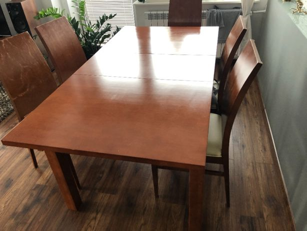 Sprzedam komplet: Stół drewniany + 6 krzeseł 100% DREWNO stan bdb+