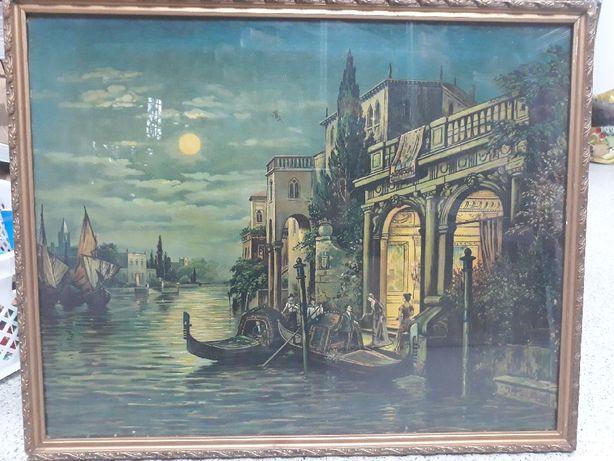 Obraz Wenecja oleodruk, duży stary obraz