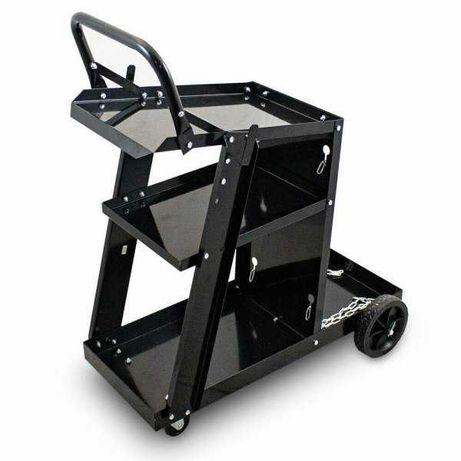 17226 Czarny wózek spawalniczy mobilny z miejscem na butlę warsztatowy