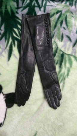 Длинные высокие короткие перчатки из натуральной кожи